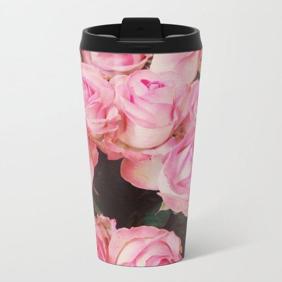 Pink Roses Metal Travel Mug