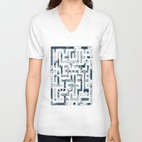 bathroom V-neck T-shirts featuring Which Way To The Bathroom? by Chris Varnum