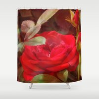 ruby Shower Curtains featuring Ruby by Aubrey