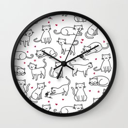 Kitties with Hearts Wall Clock