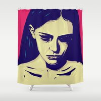 anxiety Shower Curtains featuring Anxiety by Giuseppe Cristiano
