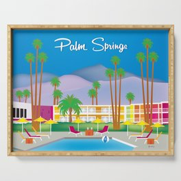 Palm Springs, California - Skyline Illustration by Loose Petals Serving Tray