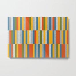 Orange, Green, Blue, Gray / Grey Stripes, Nautical Maritime Metal Print