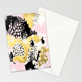 Simone - abstract painting gold foil trendy hipster pastel pink modern trendy colors decor college Stationery Cards