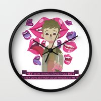 pixies Wall Clocks featuring Illustrated Songs - Hey by Cristian Barbeito