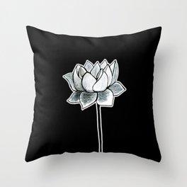Grey Lotus Black Throw Pillow