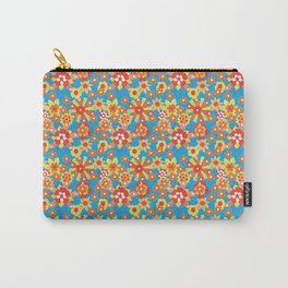 Ditsy Orange Flowers on Blue Carry-All Pouch
