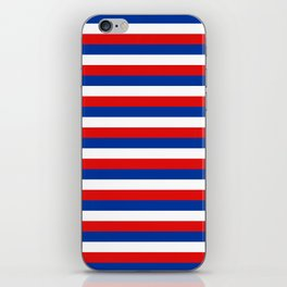 blue white red stripes iPhone Skin