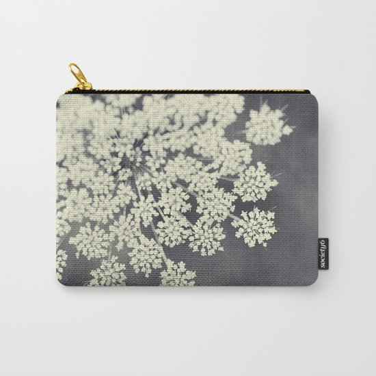 Black and White Queen Annes Lace Carry-All Pouch