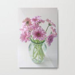 Pink Gerberas In A Vase  Metal Print