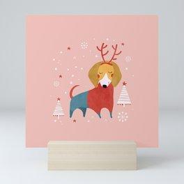Merry Christmas Dog Card 3 Mini Art Print