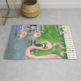 Yard Flamingo BBQ Rug