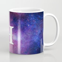 Monogrammed Logo Letter H Initial Space Blue Violet Nebulaes Coffee Mug
