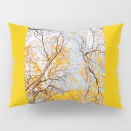 Yellow autumn leaves on trees in park Pillow Sham