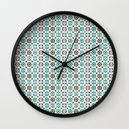 Seamless Pattern Oriental Style 2 - Mosaic Green / Red Wall Clock