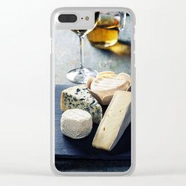 Various types of cheese and white wine Clear iPhone Case