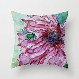 Bugged Flower Throw Pillow