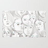 asian Area & Throw Rugs featuring Asian Girls by Maria Umiewska