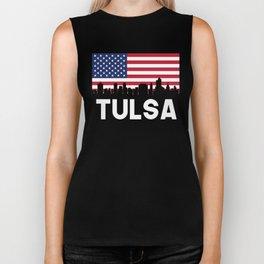 Tulsa OK American Flag Skyline Biker Tank