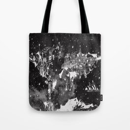 world map galaxy black and white Tote Bag