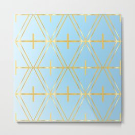 Golden Blue Fretwork Metal Print