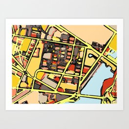 Abstract Map East Cambridge Art Print