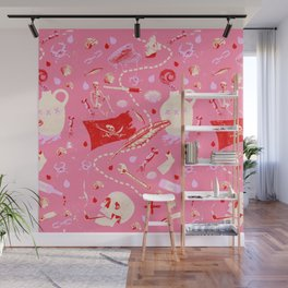AHOY PATTERN (pink) Wall Mural