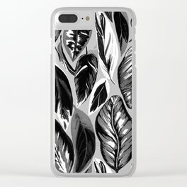 Calathea black & grey leaves with pale background Clear iPhone Case
