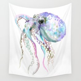 Octopus (soft gray, violet, turquouse) Wall Tapestry
