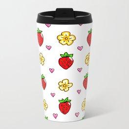 Strawberry Doodle Pattern Metal Travel Mug