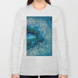 Teal Druzy Agate Quartz Long Sleeve T-shirt