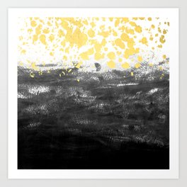 Minimal painting abstract gold black and white ocean water waves dots painterly Art Print
