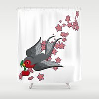 swallow Shower Curtains featuring Grey Swallow by Jelly Roger