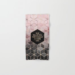 She Believed She Could - Grey Pink Hand & Bath Towel