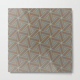 Brown and Blue Op Art Triangles Metal Print