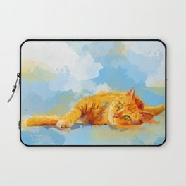 Cat Dream - orange tabby cat painting Laptop Sleeve