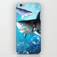 shark iPhone & iPod Skins featuring Shark by nicky2342