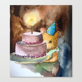 Ginger Celebrates with Cake Canvas Print