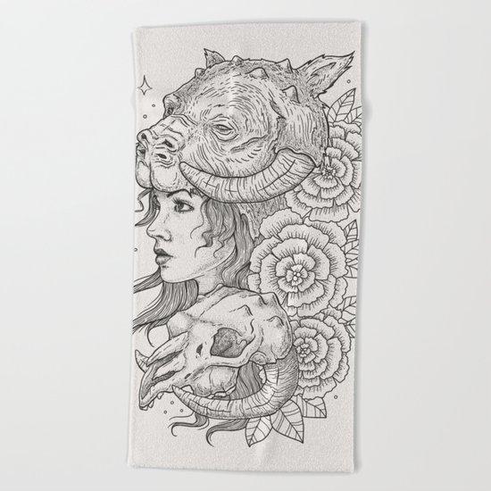 Tauntaun Girl Beach Towel