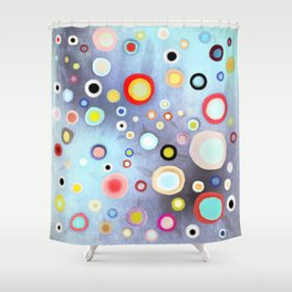 Nebulous Blue abstract circles Shower Curtain