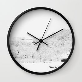 Winter Forest (Black and White) Wall Clock