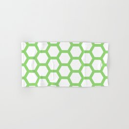 Green and White Pentagon Honeycomb Pattern Hand & Bath Towel