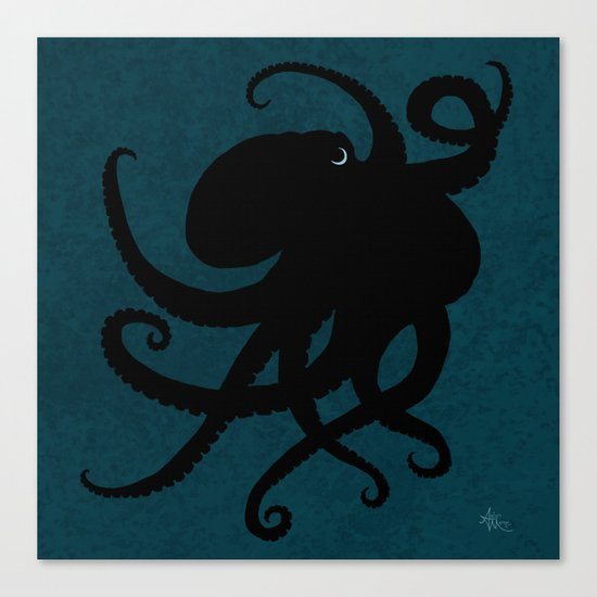 """Octopus Silhouette"" digital illustration by Amber Marine, (c) 2015 Canvas Print"