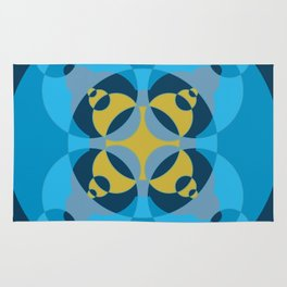 019 Abstract dark blue, yellow and cyan art for office decoration Rug