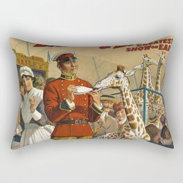 19th Century Barnum & Bailey Circus The only baby giraffe in America Vintage Poster Rectangular Pillow