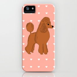 Red Apricot Poodle with Peach Pink & Hearts iPhone Case