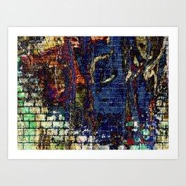 Vibrant Bold Blue Textured Fabric-Like Landscape Art Print