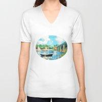sailing V-neck T-shirts featuring Sailing by YeesArts