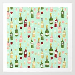 Rose drinks champagne wine bar art food fight apparel and gifts mint Art Print