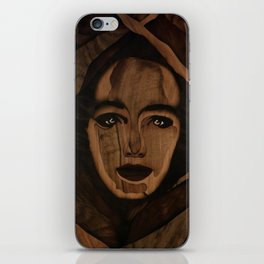 Fantasy wood face woman marquetry iPhone Skin
